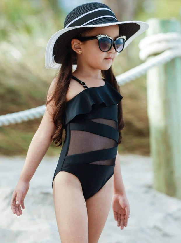 Girls One Shoulder Ruffle Mesh Cut Out One Piece Swimsuit - Girls One Piece Swimsuit