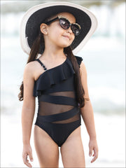 Girls One Shoulder Ruffle Mesh Cut Out One Piece Swimsuit - Black / 3T/4T - Girls One Piece Swimsuit