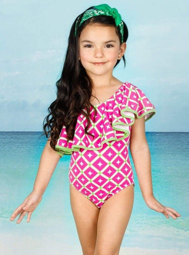 Girls One Shoulder Ruffle Printed One Piece Swimsuit - Girls One Piece Swimsuit