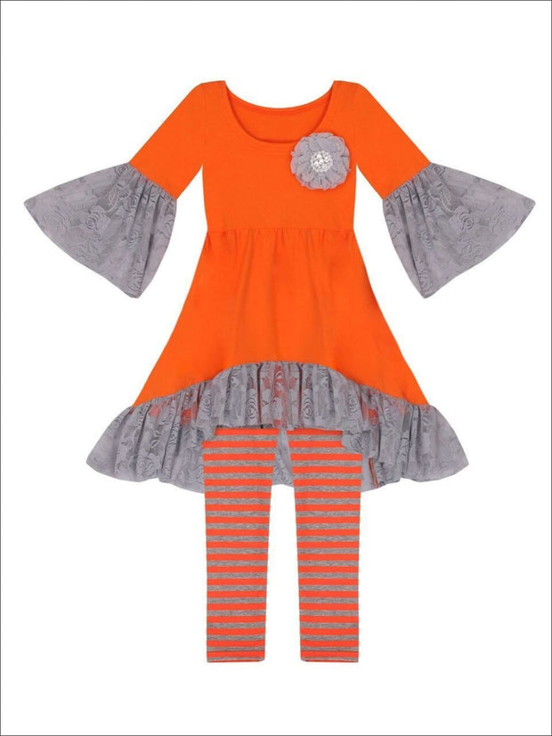 Girls Orange Boho Sleeve Tunic & Grey Striped Leggings Set - Girls Fall Casual Set