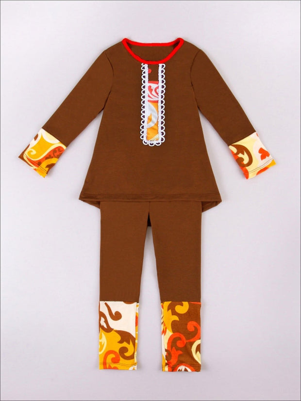Girls Orange Brown Tunic & Leggings - Fall Low Stock