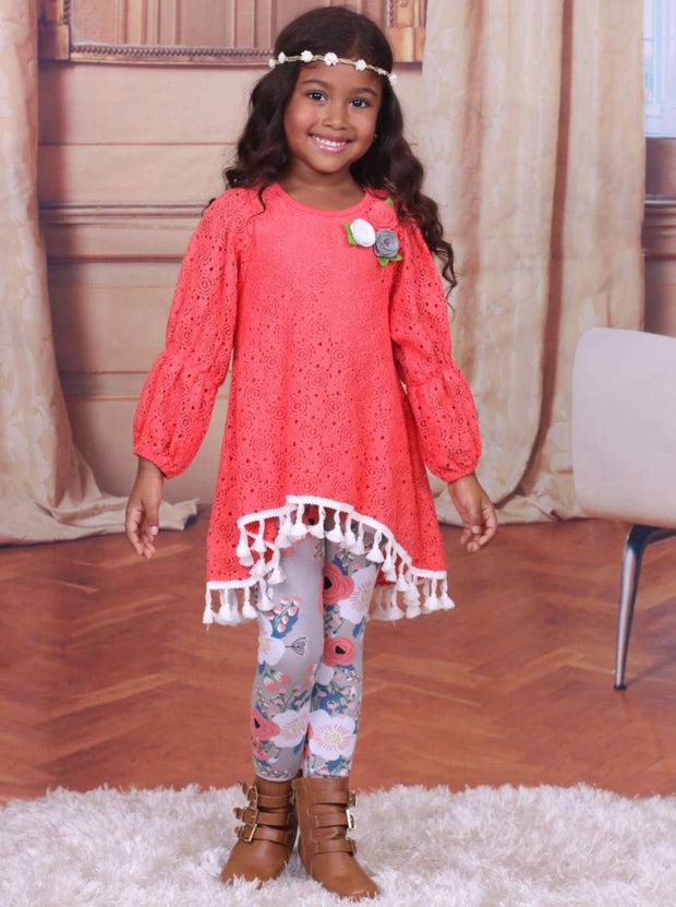 Girls Orange & Floral Lace Peasant Sleeve Hi-Lo Tunic & Leggings Set - Girls Fall Set