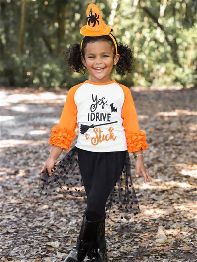 Girls Orange & White Yes I Drive A Stick 3/4 Ruffled Sleeve Halloween Raglan Top - Orange/White / 2T-XS - Girls Halloween Top