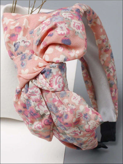 Girls Oversized Bow Chiffon Floral Headband 4 Color Options) - Pink - Hair Accessories
