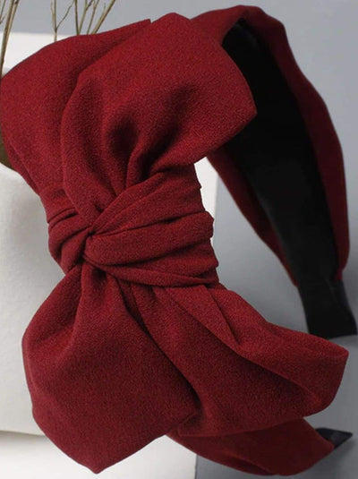 Girls Oversized Bow Chiffon Headband - Red - Hair Accessories