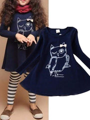 Girls Owl Graphic Print Long Sleeve Tunic Dress ( 2 Color Options) - Girls Fall Casual Dress