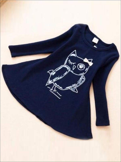 Girls Owl Graphic Print Long Sleeve Tunic Dress ( 2 Color Options) - Navy / 2T - Girls Fall Casual Dress