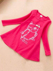 Girls Owl Graphic Print Long Sleeve Tunic Dress ( 2 Color Options) - Pink / 2T - Girls Fall Casual Dress