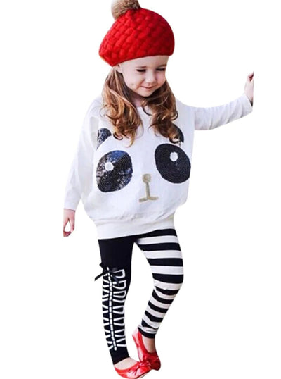 Girls Panda Sequins Striped Bow Winter Set - White / 3T - Girls Fall Casual Set