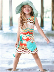 Girls Papaya/Mint A-Line Dress - Girls Spring Casual Dress