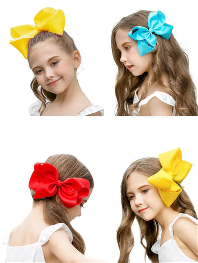Girls Pastel Color Hair Bow Clip - Hair Accessories