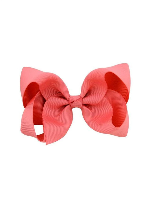 Girls Pastel Color Hair Bow Clip - Coral / 3inch - Hair Accessories