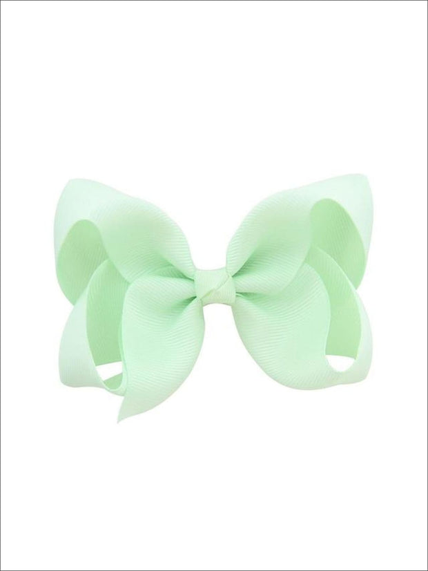 Girls Pastel Color Hair Bow Clip - Green / 3inch - Hair Accessories