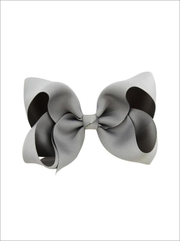 Girls Pastel Color Hair Bow Clip - Grey / 3inch - Hair Accessories