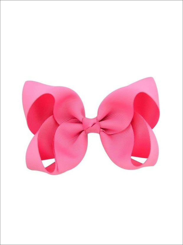 Girls Pastel Color Hair Bow Clip - Hot Pink / 3inch - Hair Accessories