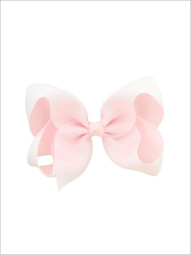 Girls Pastel Color Hair Bow Clip - Pink / 3inch - Hair Accessories