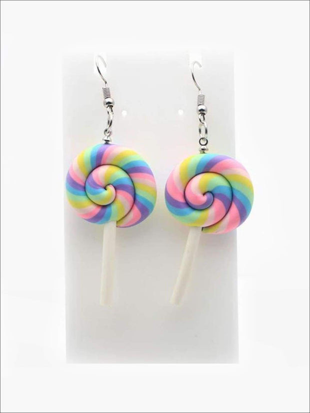Girls Pastel Princess Unicorn Lollipop Earrings - Accessories