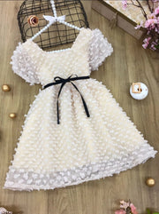 Girls Patchwork Ribbon Casual Dress - Creme / 4T - Girls Spring Casual Dress