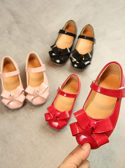 Girls Patent Synthetic Leather Bow Tie Mary Jane Flats (3 Color Options) - Girls Flats