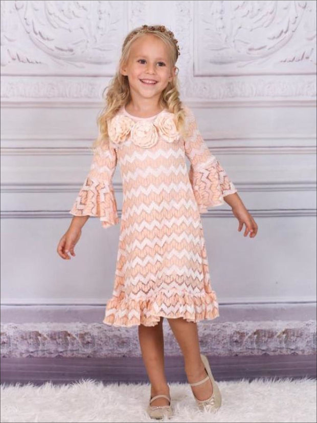 Girls Peach Lace Flare Sleeve A-Line Dress with Ruffle - Fall Low Stock