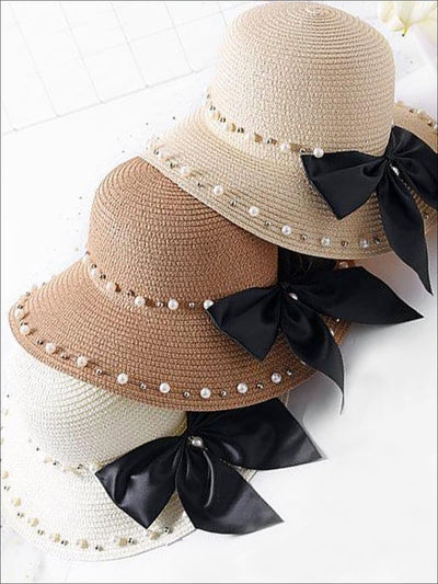 Girls Pearl and Bow Embellished Straw Hat - Girls Hats