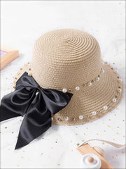 Girls Pearl and Bow Embellished Straw Hat - Beige / One Size - Girls Hats
