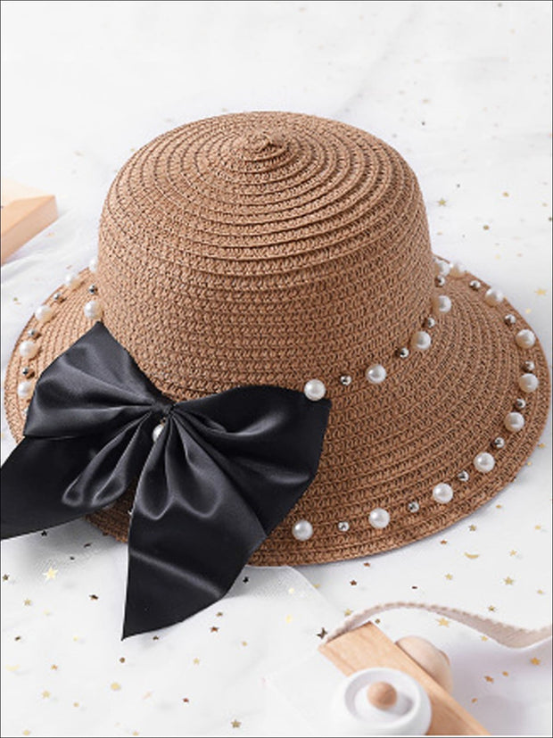 Girls Pearl and Bow Embellished Straw Hat - Tan / One Size - Girls Hats