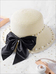 Girls Pearl and Bow Embellished Straw Hat - White / One Size - Girls Hats