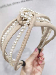 Girls Pearl and Velvet Knot Headband - Beige - Hair Accessories