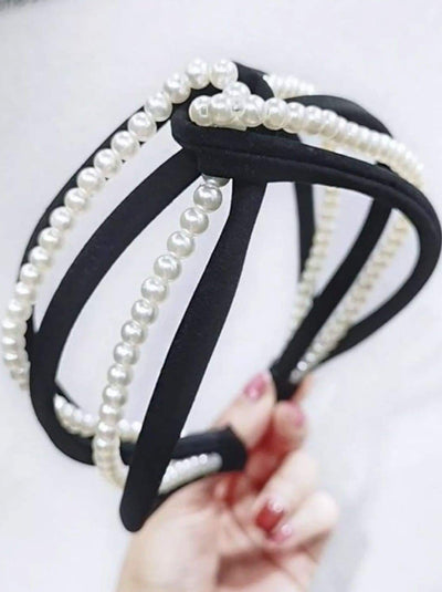 Girls Pearl and Velvet Knot Headband - Black - Hair Accessories