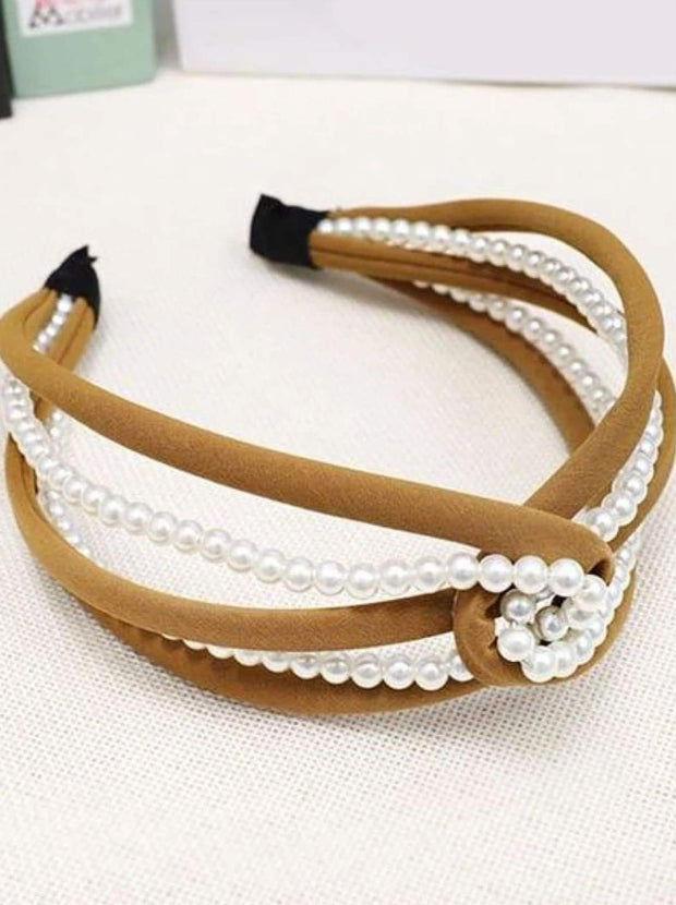 Girls Pearl and Velvet Knot Headband - Brown - Hair Accessories