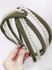 Girls Pearl and Velvet Knot Headband - Green - Hair Accessories