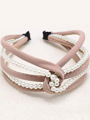 Girls Pearl and Velvet Knot Headband - Pink - Hair Accessories