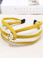 Girls Pearl and Velvet Knot Headband - Yellow - Hair Accessories
