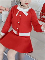 Girls Pearl Button Down Sweater Cardigan & Skirt Set ( 2 Color Options) - Red / 4T - Girls Fall Dressy Set