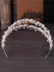 Girls Pearl Clear Crystal Beaded Headband - Hair Accessories