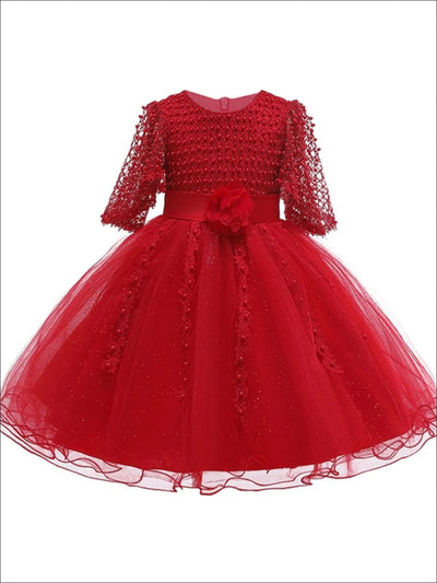Girls Pearl Embellished Bodice Special Occasion Party Dress - Red / 3T - Girls Fall Dressy Dress