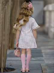 Girls Pearl Embellished Bow Buttoned Tweed Dress - Girls Spring Dressy Dress