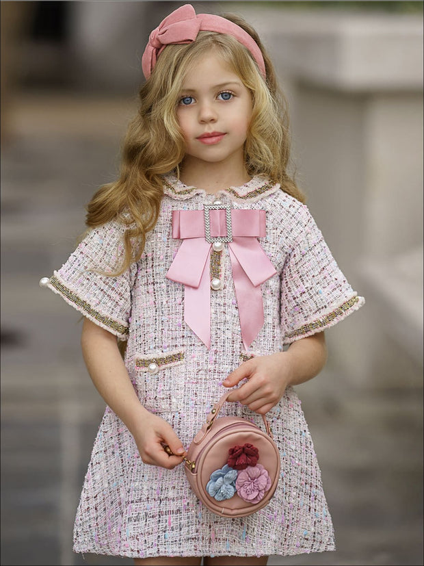 Girls Pearl Embellished Bow Buttoned Tweed Dress - Pink / 3T - Girls Spring Dressy Dress