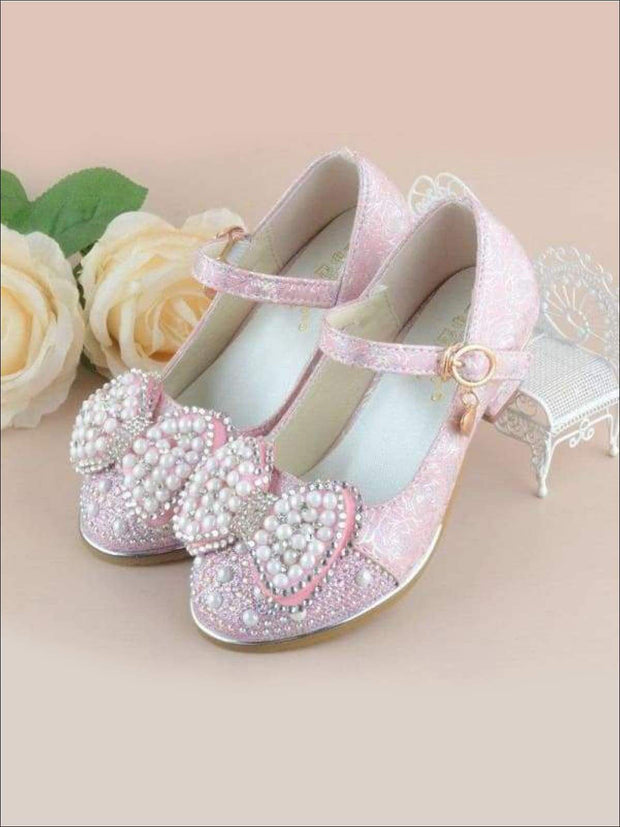 Girls Pearl Embellished Bow Tie Flats with Mini Heel - Girls Flats