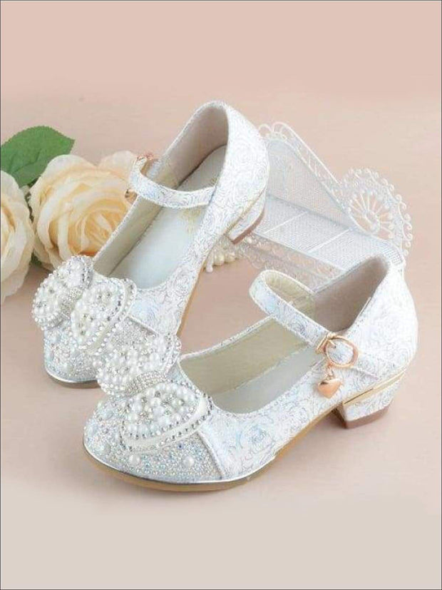 Girls Pearl Embellished Bow Tie Flats with Mini Heel - Ivory / 1 - Girls Flats