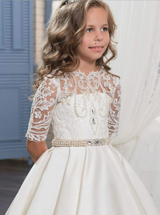 Girls Pearl Embellished Crochet Communion Gown - Girls Gowns