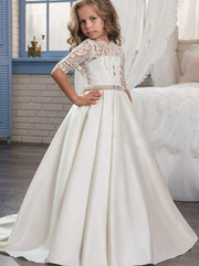 Girls Pearl Embellished Crochet Communion Gown - White / 2T - Girls Gowns