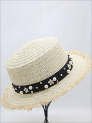 Girls Pearl Embellished Frayed Edge Straw Hat - Beige - Girls Hats