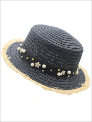 Girls Pearl Embellished Frayed Edge Straw Hat - Black - Girls Hats
