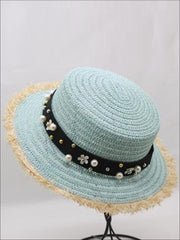 Girls Pearl Embellished Frayed Edge Straw Hat - Mint - Girls Hats