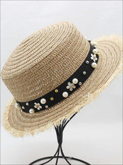 Girls Pearl Embellished Frayed Edge Straw Hat - Tan - Girls Hats