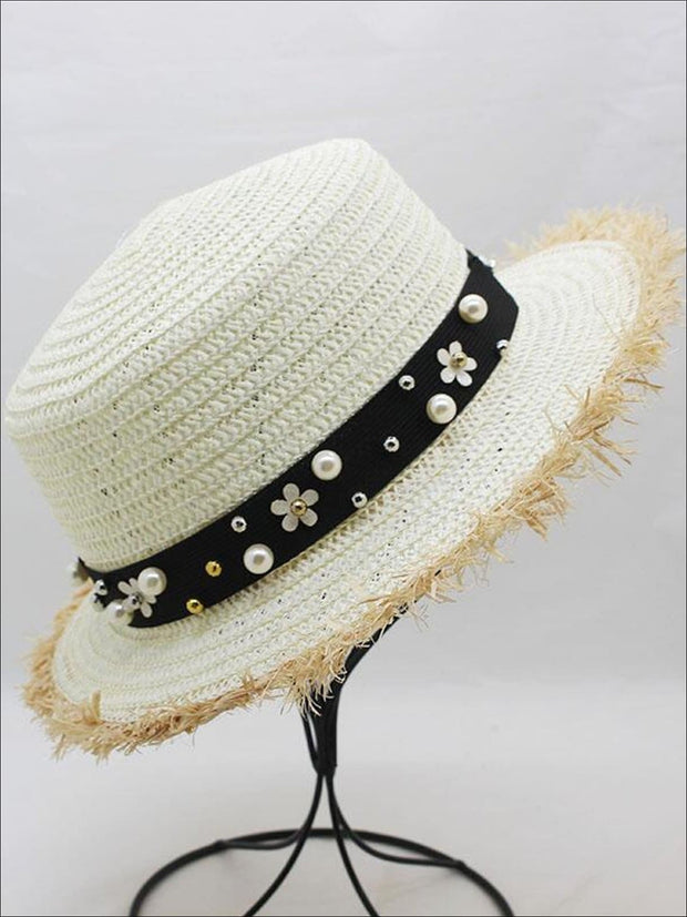 Girls Pearl Embellished Frayed Edge Straw Hat - White - Girls Hats