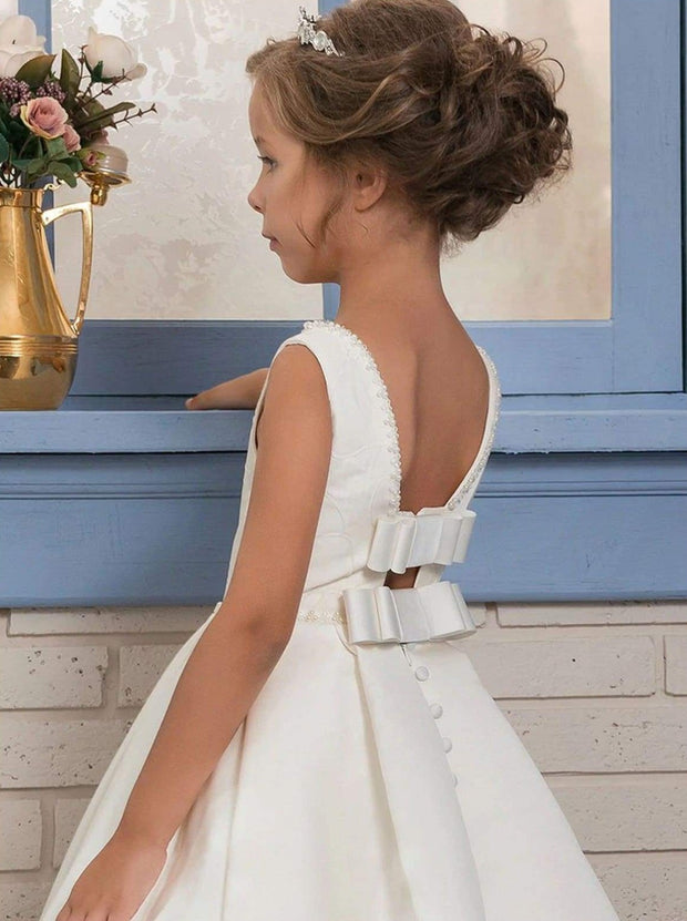 Girls Pearl Embellished Lace Communion Gown - Girls Gowns