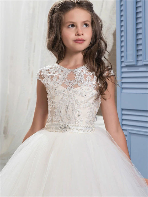 Girls Pearl Embellished Lace Mesh Communion Gown - Girls Gowns